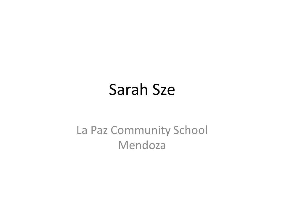 Sarah Sze La Paz Community School Mendoza