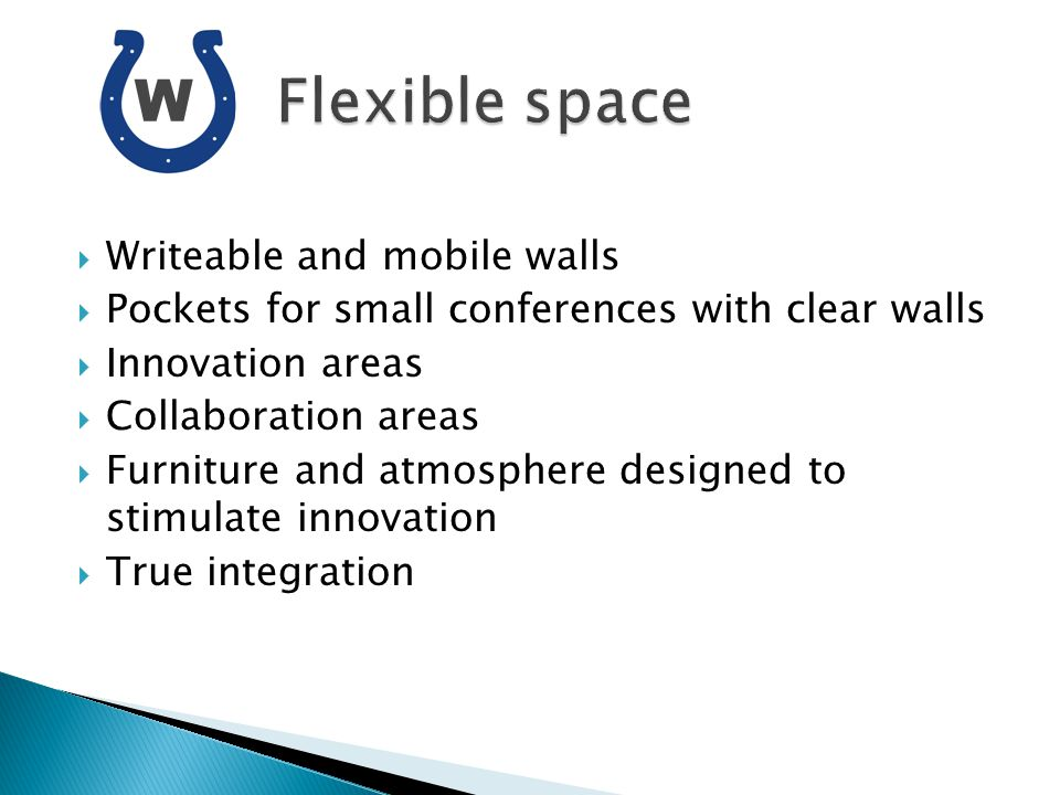 Writeable and mobile walls Pockets for small conferences with clear walls Innovation areas Collaboration areas Furniture and atmosphere designed to st