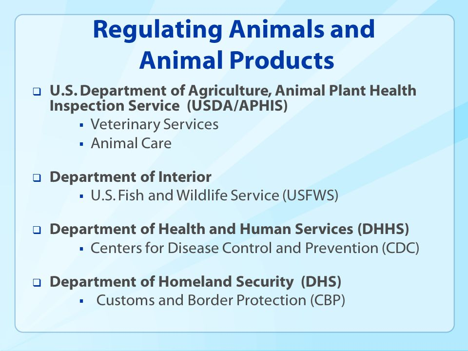 Regulating Animals and Animal Products U.S.
