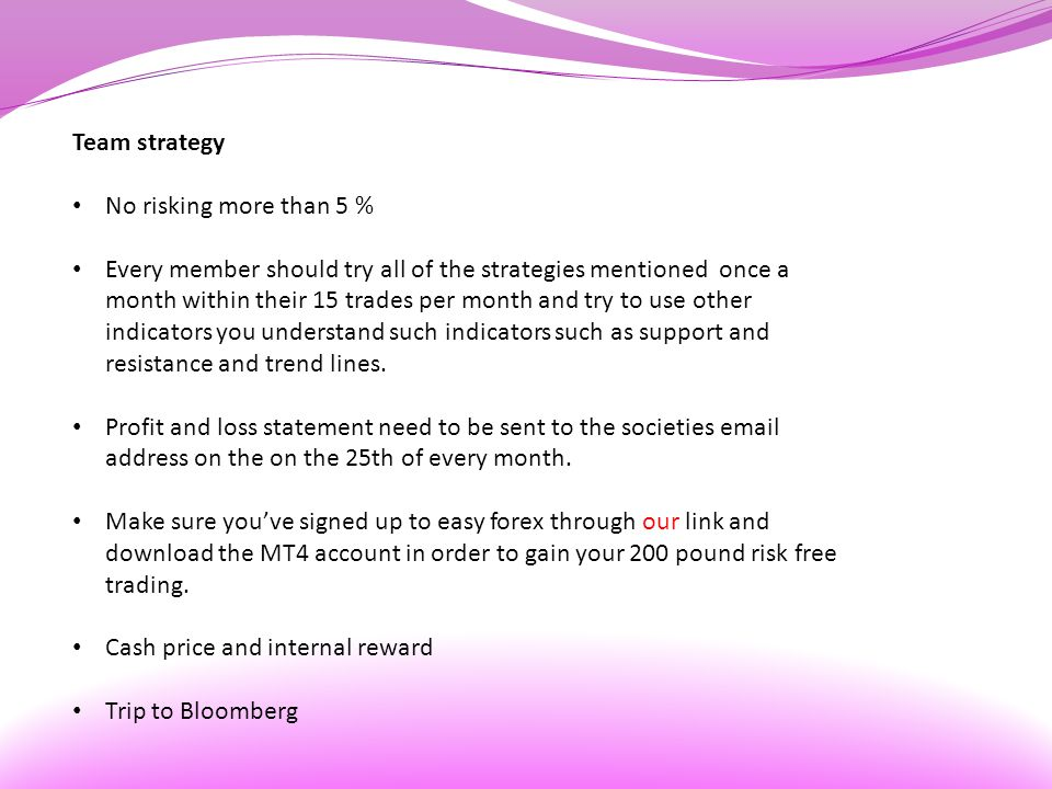 Team strategy No risking more than 5 % Every member should try all of the strategies mentioned once a month within their 15 trades per month and try to use other indicators you understand such indicators such as support and resistance and trend lines.