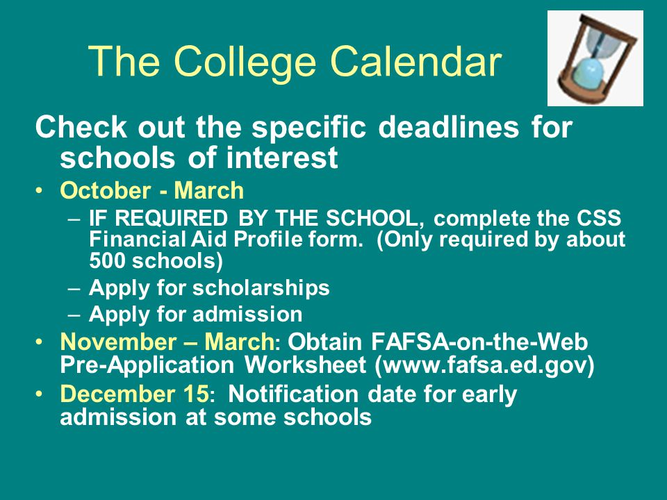 The College Calendar January - February: –Submit FAFSA & Cal Grant GPA Verification Form –Check on housing application deadlines February - April: –Notifications for regular admission followed by financial aid award letters.