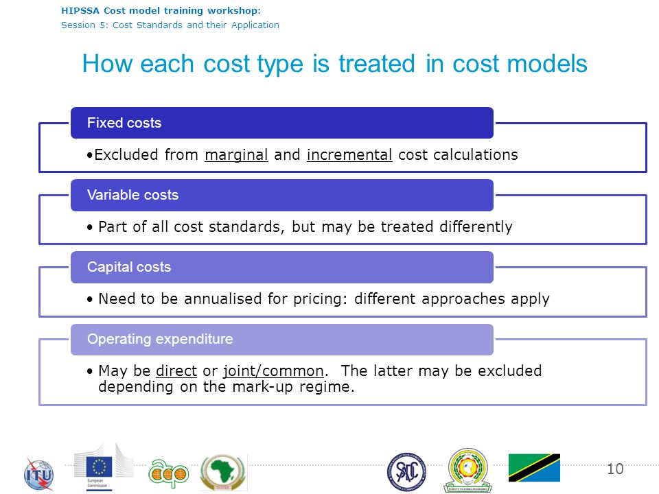 HIPSSA Cost model training workshop: Session 5: Cost Standards and their Application How each cost type is treated in cost models Excluded from marginal and incremental cost calculations Fixed costs Part of all cost standards, but may be treated differently Variable costs Need to be annualised for pricing: different approaches apply Capital costs May be direct or joint/common.