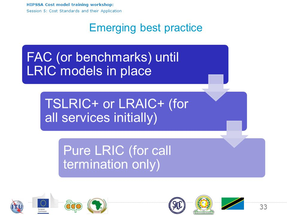 HIPSSA Cost model training workshop: Session 5: Cost Standards and their Application 33 Emerging best practice FAC (or benchmarks) until LRIC models in place TSLRIC+ or LRAIC+ (for all services initially) Pure LRIC (for call termination only)