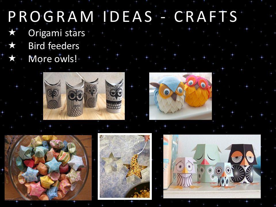 PROGRAM IDEAS - CRAFTS Origami stars Bird feeders More owls!