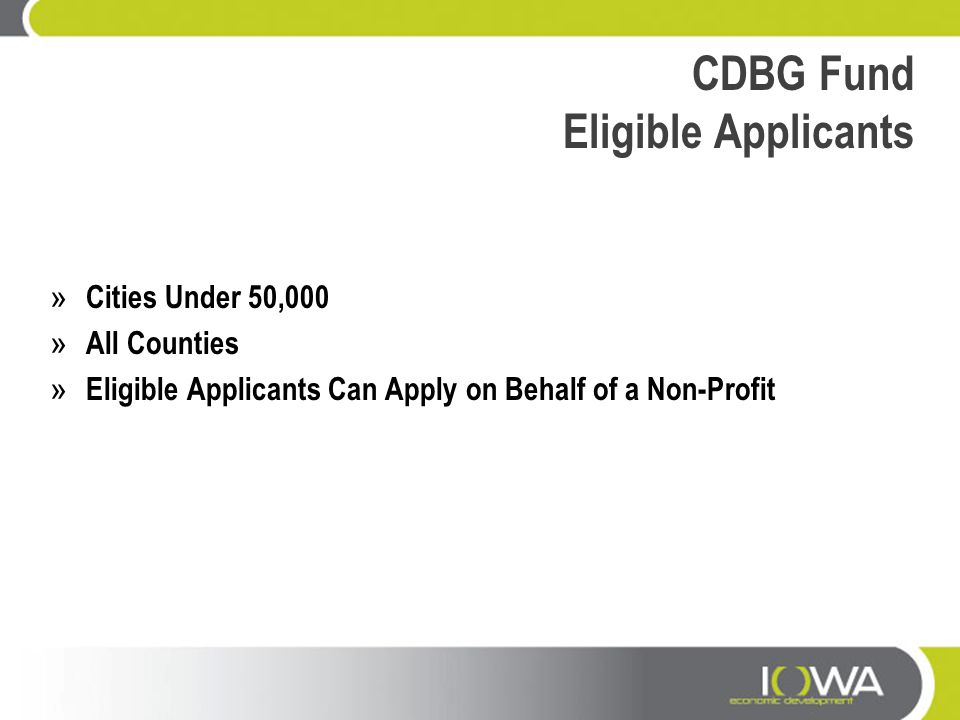 CDBG Fund Eligible Applicants » Cities Under 50,000 » All Counties » Eligible Applicants Can Apply on Behalf of a Non-Profit