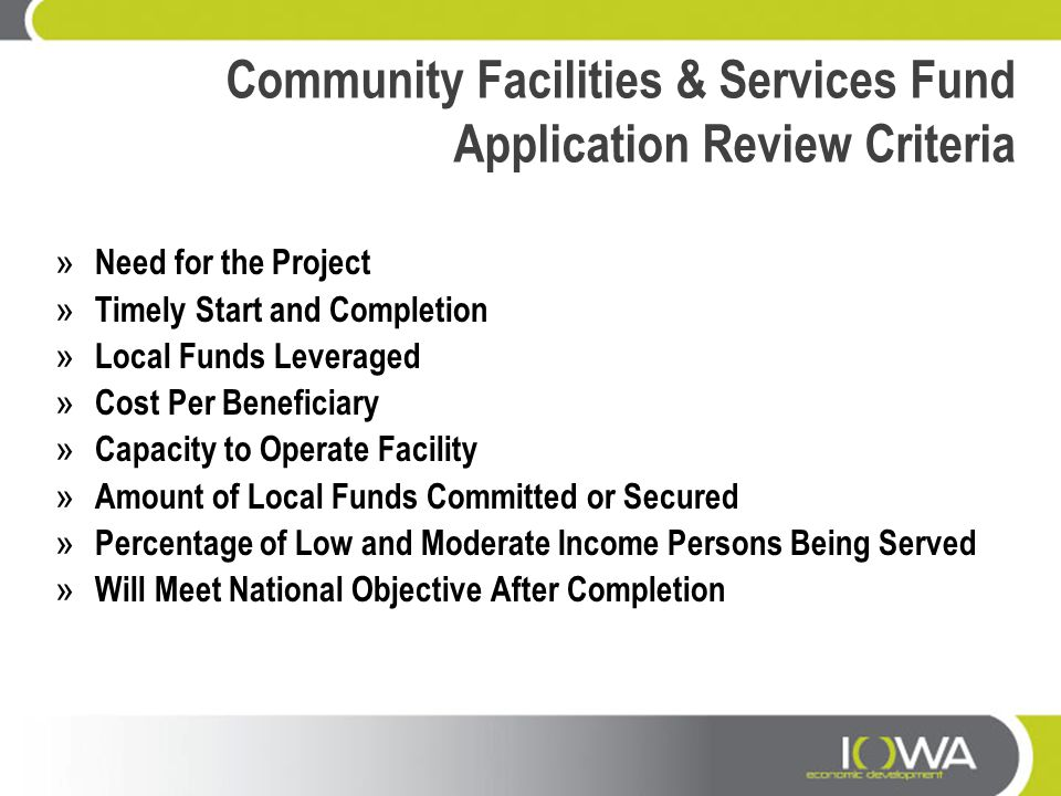 Community Facilities & Services Fund Application Review Criteria » Need for the Project » Timely Start and Completion » Local Funds Leveraged » Cost P