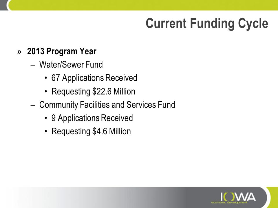 Current Funding Cycle » 2013 Program Year –Water/Sewer Fund 67 Applications Received Requesting $22.6 Million –Community Facilities and Services Fund