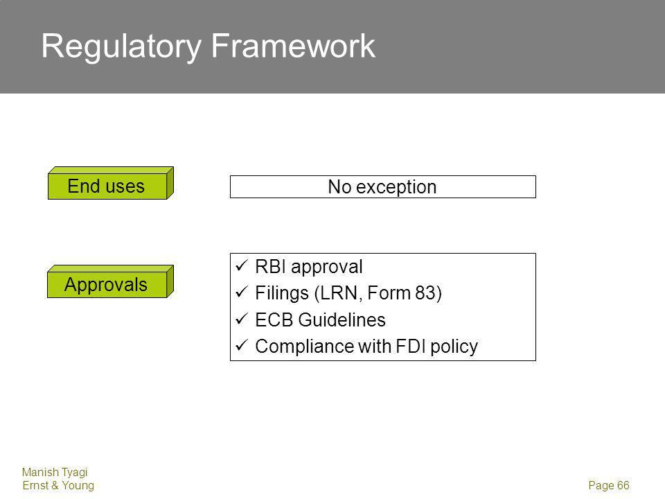 Manish Tyagi Ernst & Young Page 66 End uses No exception Approvals RBI approval Filings (LRN, Form 83) ECB Guidelines Compliance with FDI policy Regul