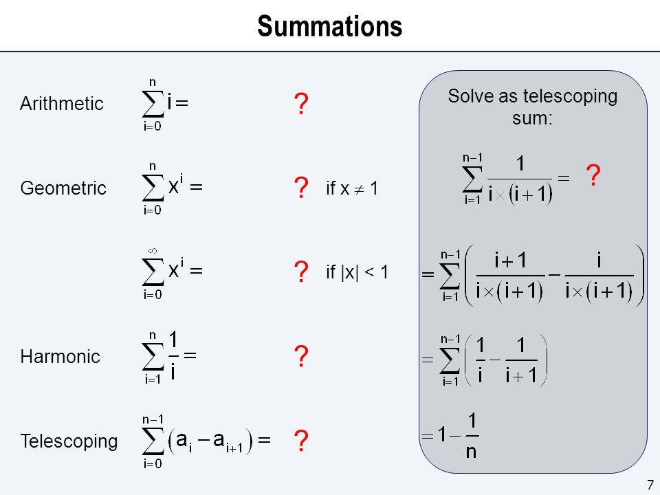 Summations 7 Arithmetic . Harmonic . if |x| < 1 .