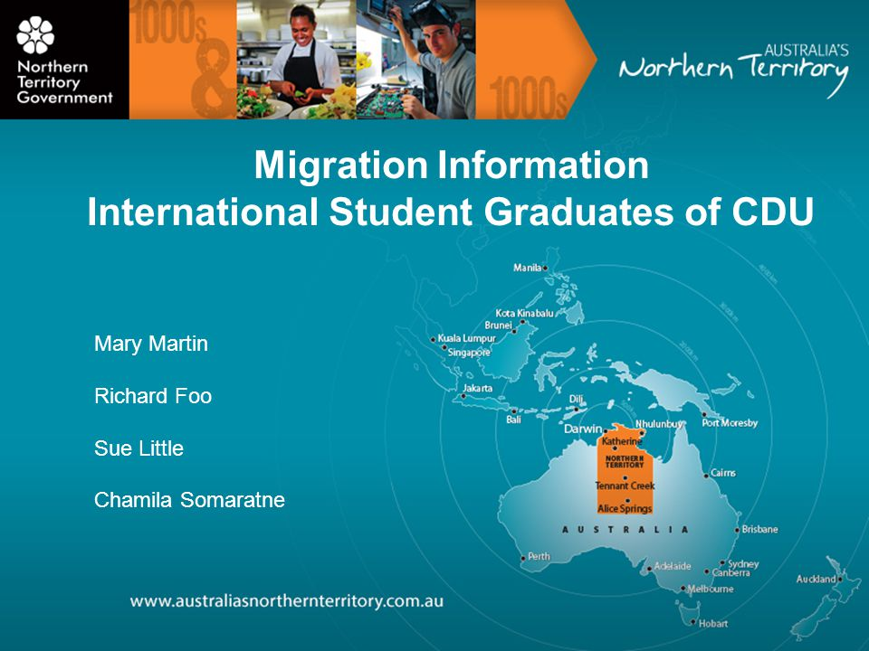 Migration Information International Student Graduates of CDU Mary Martin Richard Foo Sue Little Chamila Somaratne