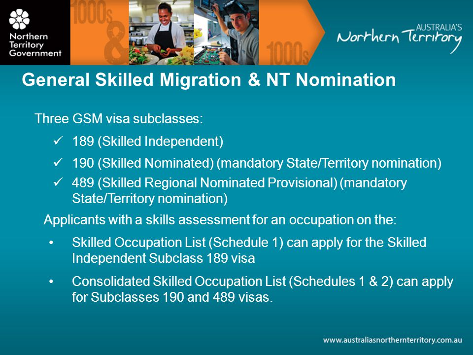General Skilled Migration GSM visas application process must lodge an Expression of Interest (EOI) through the Department of Immigration and Border Protection (DIBP) SkillSelect database For SC190 and SC489 visas must apply for NT nomination Receive an invitation to apply for a visa.