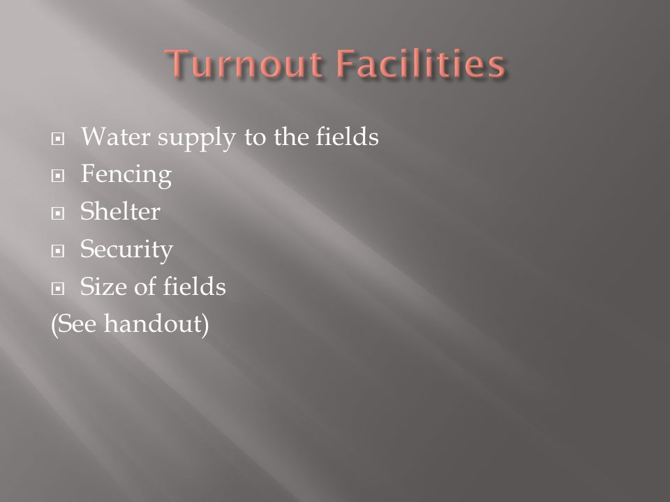 Water supply to the fields Fencing Shelter Security Size of fields (See handout)