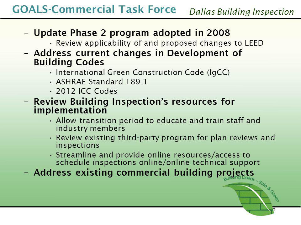 Dallas Building Inspection GOALS-Commercial Task Force –Update Phase 2 program adopted in 2008 Review applicability of and proposed changes to LEED –A