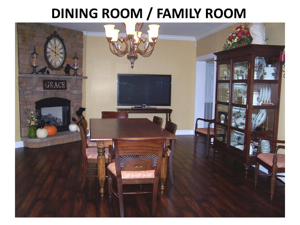 GAS LOG FIREPLACE LOCATED IN DINING /FAMILY ROOM 9 CEILINGS THROUGHOUT CANNED LIGHTING IN SELECT AREAS