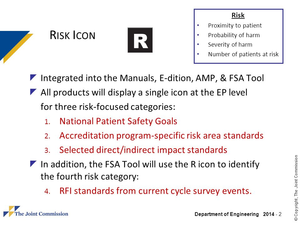Department of Engineering 2014 - 2 © Copyright, The Joint Commission R ISK I CON Integrated into the Manuals, E-dition, AMP, & FSA Tool All products w