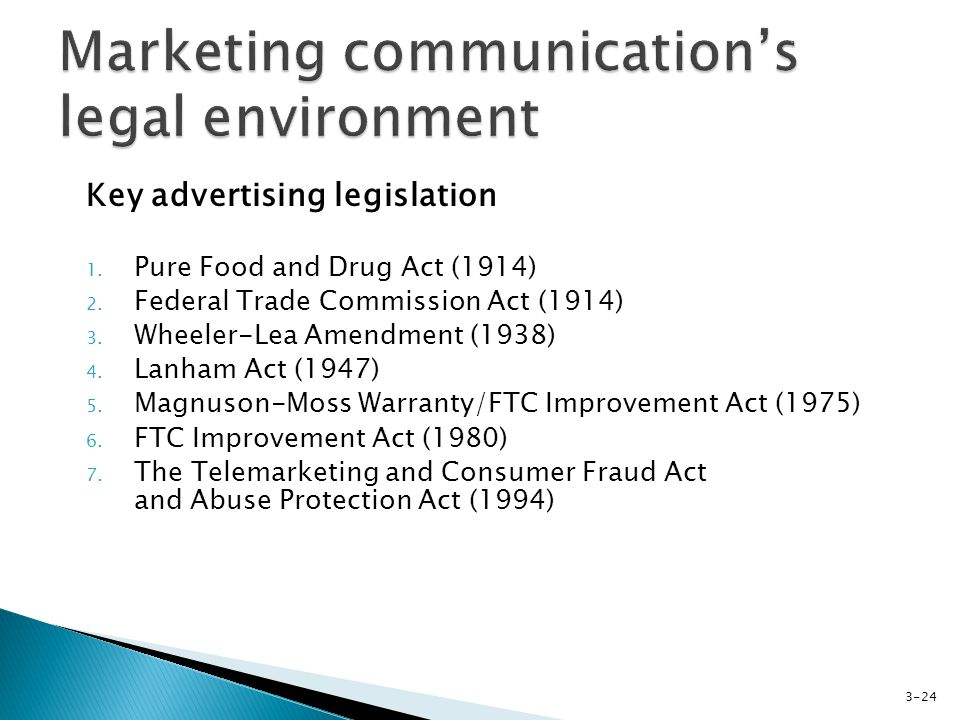 Key advertising legislation 1. Pure Food and Drug Act (1914) 2.