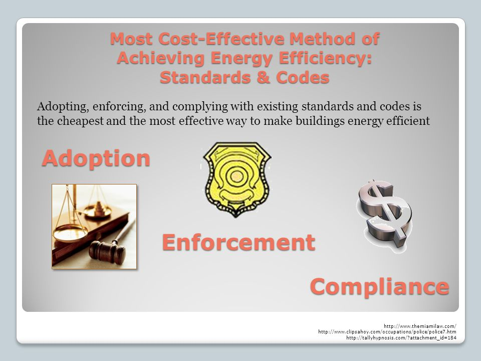 Most Cost-Effective Method of Achieving Energy Efficiency: Standards & Codes Adopting, enforcing, and complying with existing standards and codes is the cheapest and the most effective way to make buildings energy efficient Adoption Enforcement Compliance http://www.themiamilaw.com/ http://www.clipsahoy.com/occupations/police/police7.htm http://tallyhypnosis.com/?attachment_id=184