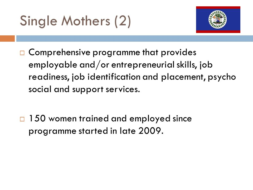 Single Mothers (2) Comprehensive programme that provides employable and/or entrepreneurial skills, job readiness, job identification and placement, psycho social and support services.