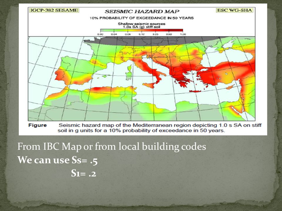 From IBC Map or from local building codes We can use Ss=.5 S1=.2