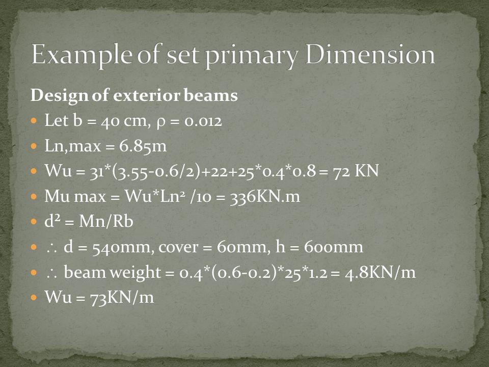 Design of exterior beams Let b = 40 cm, = 0.012 Ln,max = 6.85m Wu = 31*(3.55-0.6/2)+22+25*o.4*0.8 = 72 KN Mu max = Wu*Ln 2 /10 = 336KN.m d² = Mn/Rb d
