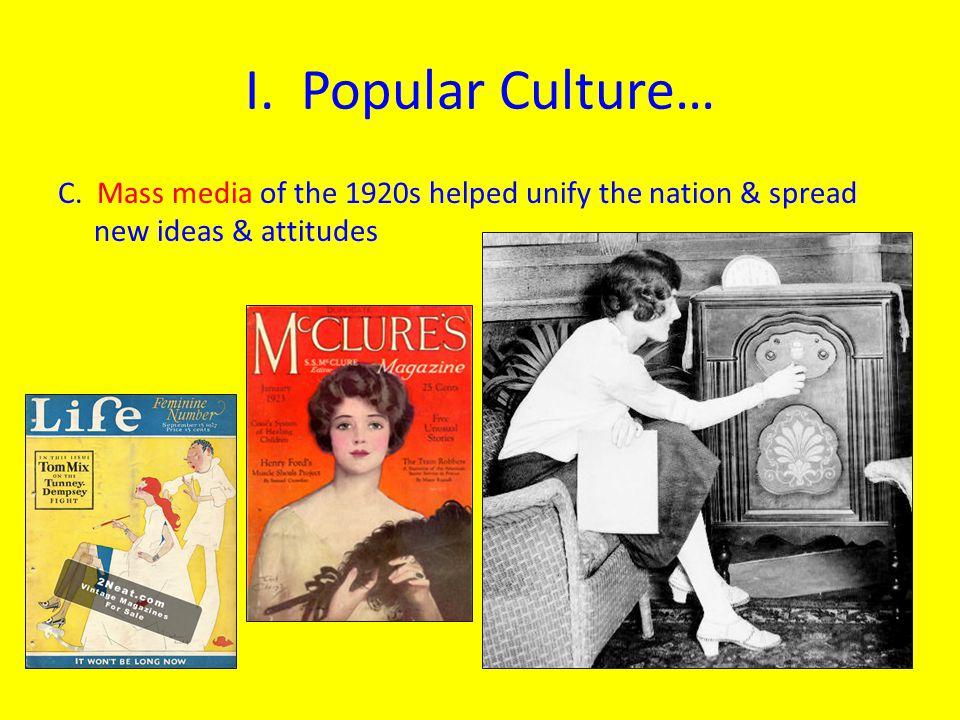 I. Popular Culture… C.