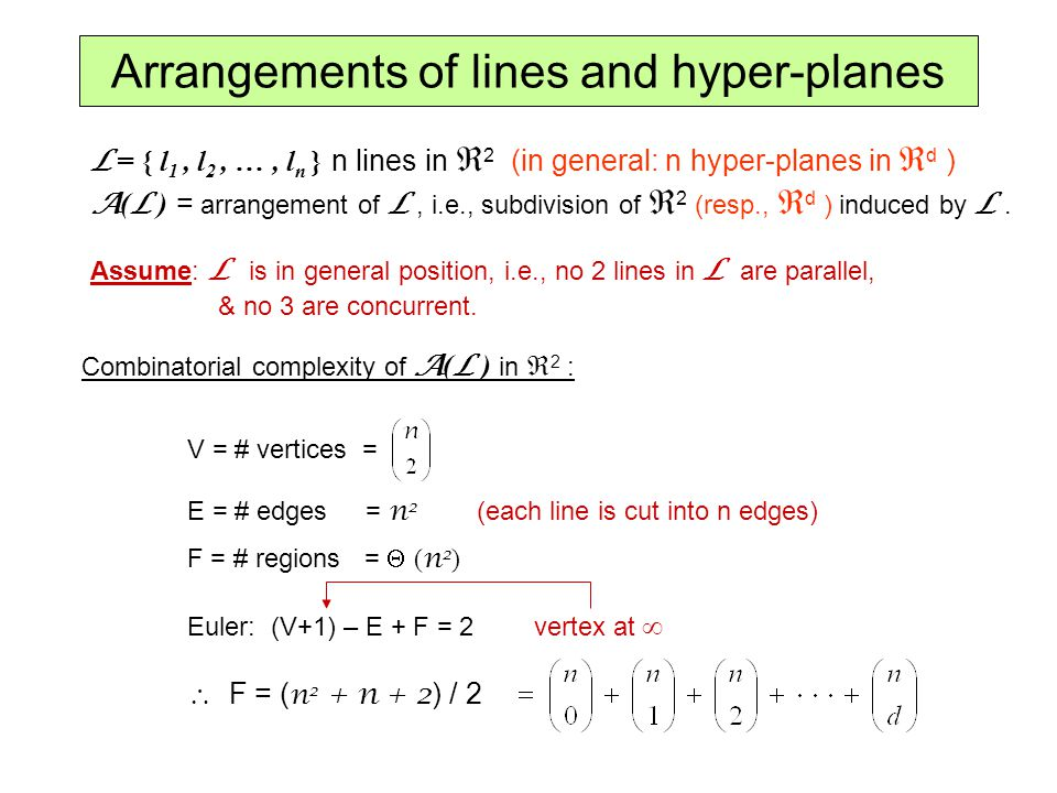 Arrangements of lines and hyper-planes L = { l 1, l 2, …, l n } n lines in 2 (in general: n hyper-planes in d ) A ( L ) = arrangement of L, i.e., subd