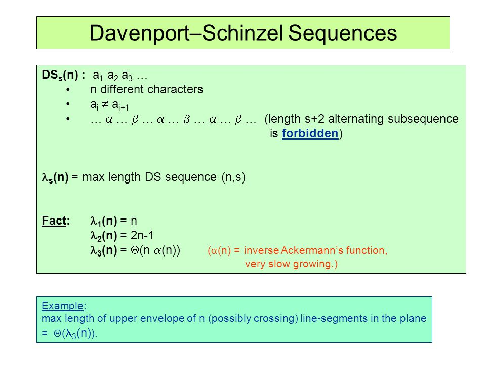 Davenport–Schinzel Sequences DS s (n) : a 1 a 2 a 3 … n different characters a i a i+1 … … … … … … … (length s+2 alternating subsequence is forbidden)