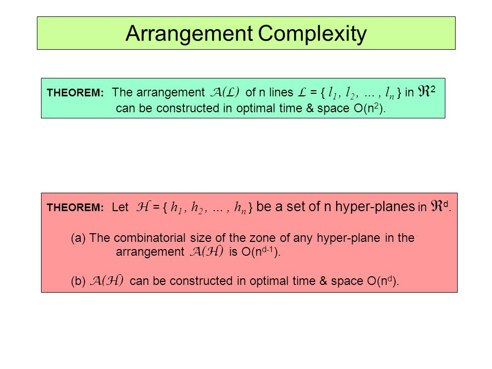 Arrangement Complexity THEOREM: The arrangement A(L) of n lines L = { l 1, l 2, …, l n } in 2 can be constructed in optimal time & space O(n 2 ). THEO