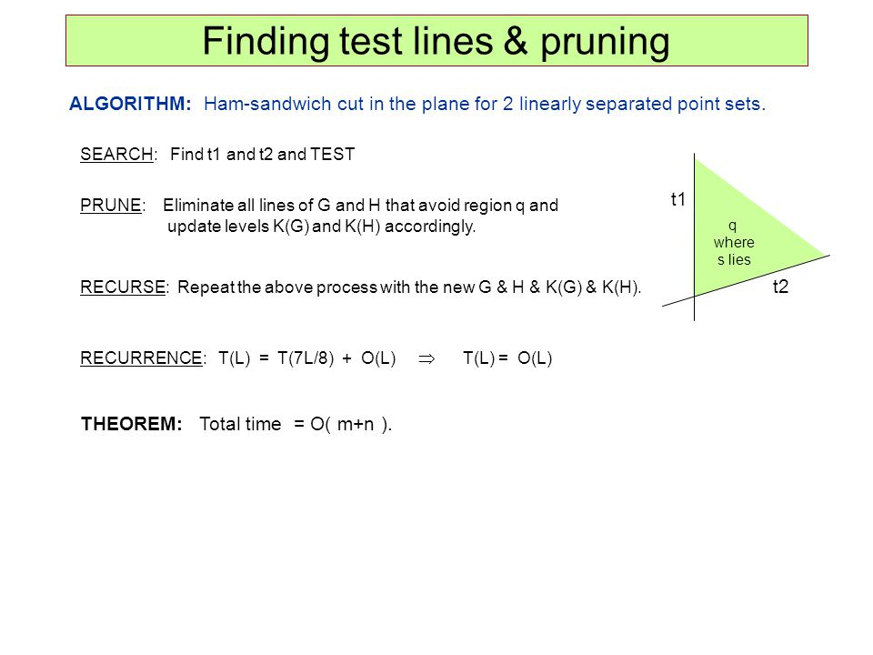 ALGORITHM: Ham-sandwich cut in the plane for 2 linearly separated point sets. Finding test lines & pruning t1 t2 q where s lies SEARCH: Find t1 and t2