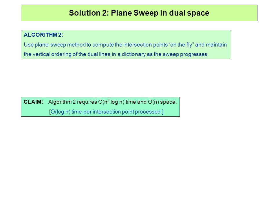 Solution 2: Plane Sweep in dual space ALGORITHM 2: Use plane-sweep method to compute the intersection points on the fly and maintain the vertical orde