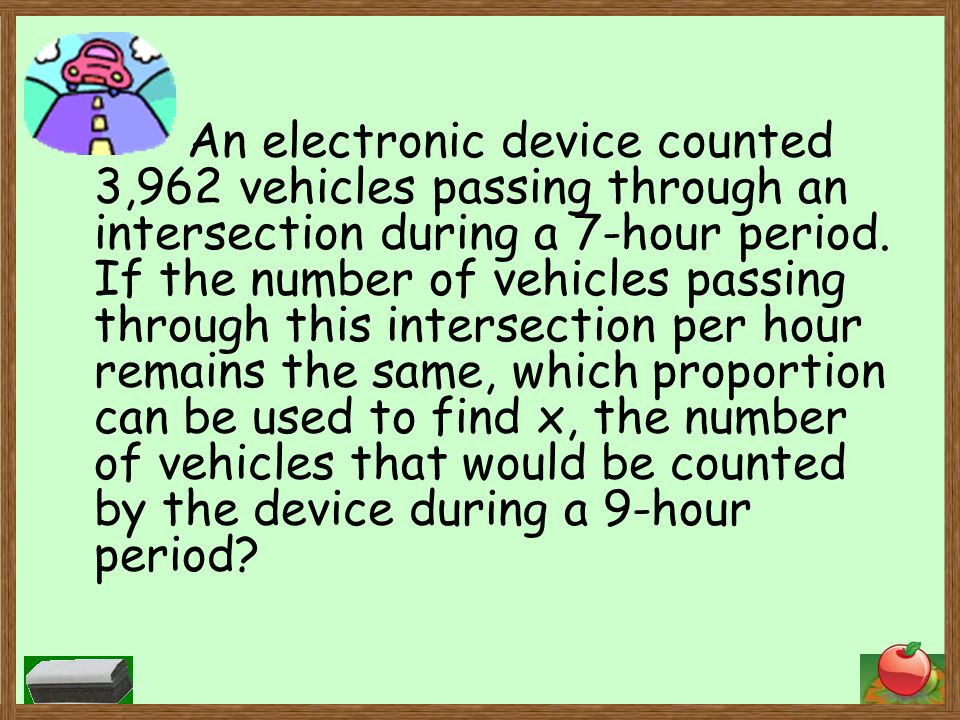 An electronic device counted 3,962 vehicles passing through an intersection during a 7-hour period.