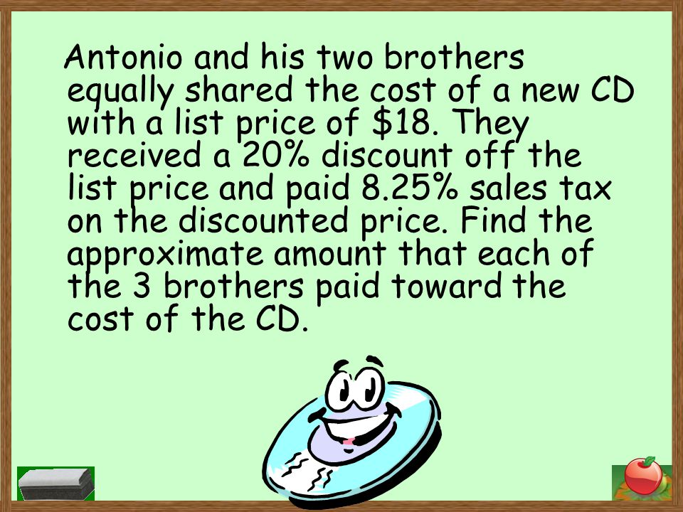 Antonio and his two brothers equally shared the cost of a new CD with a list price of $18.