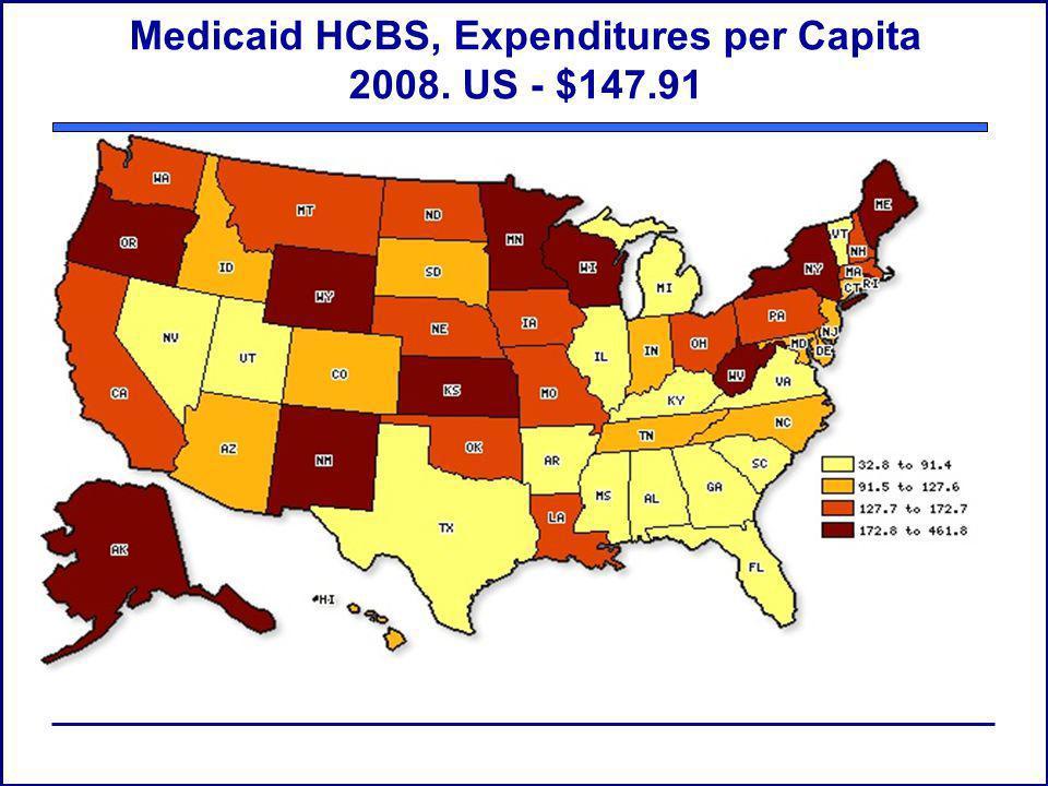 Medicaid HCBS, Expenditures per Capita 2008. US - $147.91