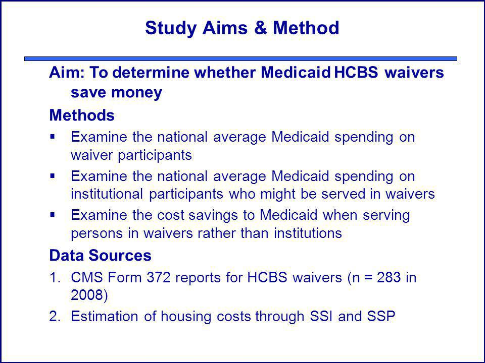 Study Aims & Method Aim: To determine whether Medicaid HCBS waivers save money Methods Examine the national average Medicaid spending on waiver participants Examine the national average Medicaid spending on institutional participants who might be served in waivers Examine the cost savings to Medicaid when serving persons in waivers rather than institutions Data Sources 1.CMS Form 372 reports for HCBS waivers (n = 283 in 2008) 2.Estimation of housing costs through SSI and SSP