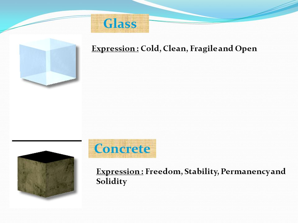 Expression : Cold, Clean, Fragile and Open Glass Expression : Freedom, Stability, Permanency and Solidity Concrete