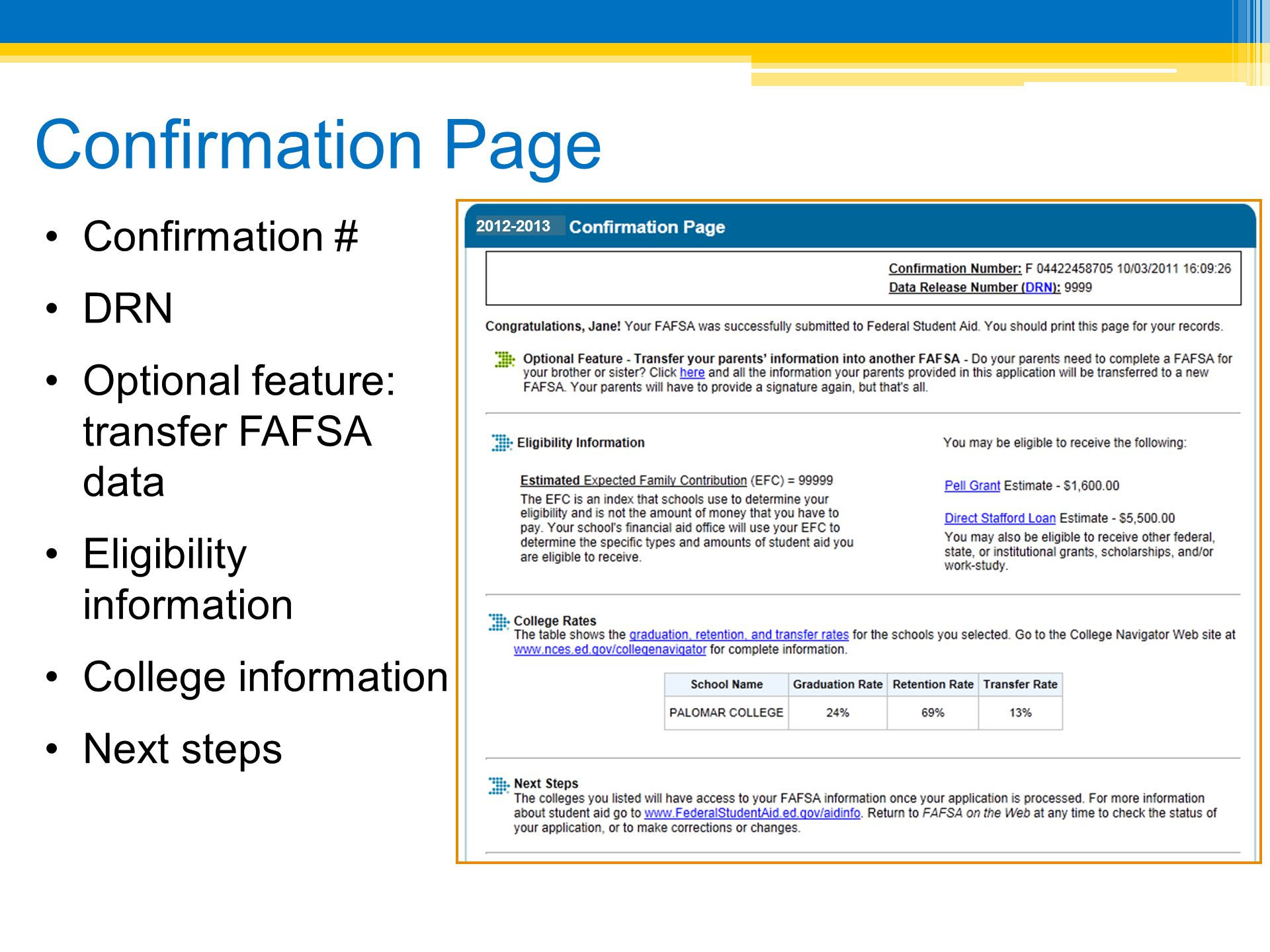 Confirmation Page Confirmation # DRN Optional feature: transfer FAFSA data Eligibility information College information Next steps 2012-2013