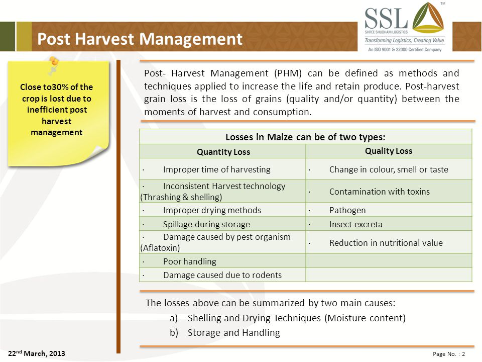 22 nd March, 2013 Page No. : 23 SSLL – Agri Logistics Parks