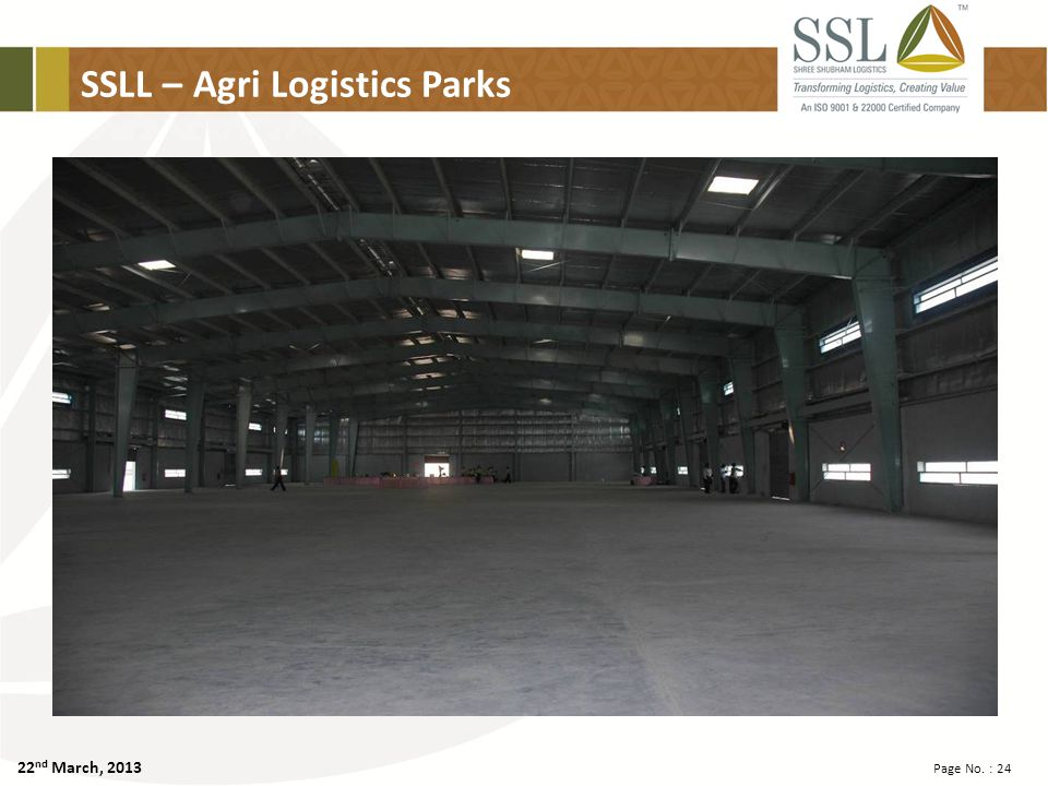 22 nd March, 2013 Page No. : 24 SSLL – Agri Logistics Parks