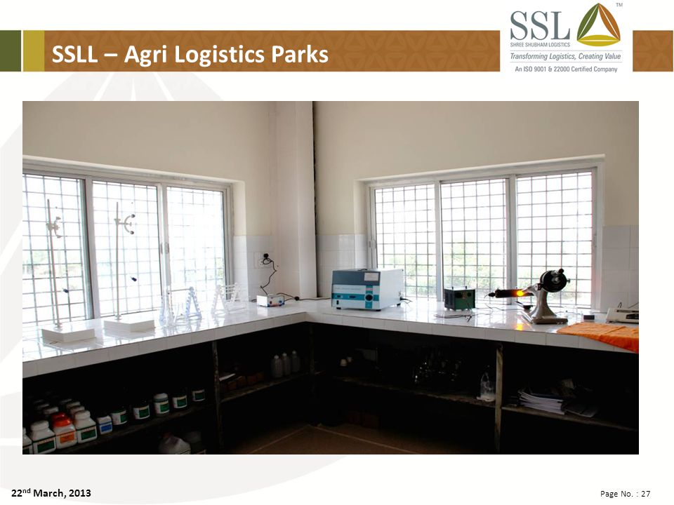 22 nd March, 2013 Page No. : 27 SSLL – Agri Logistics Parks