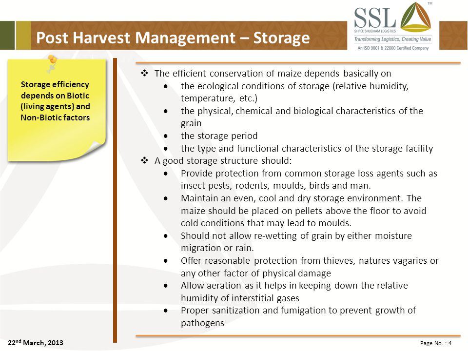 22 nd March, 2013 Page No. : 25 SSLL – Agri Logistics Parks