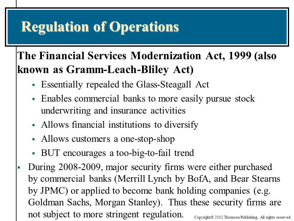 Copyright© 2002 Thomson Publishing. All rights reserved. Regulation of Operations The Financial Services Modernization Act, 1999 (also known as Gramm-