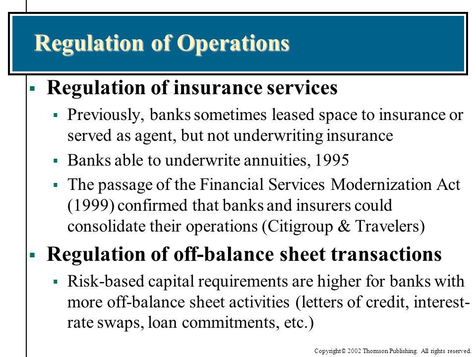 Copyright© 2002 Thomson Publishing. All rights reserved. Regulation of Operations Regulation of insurance services Previously, banks sometimes leased