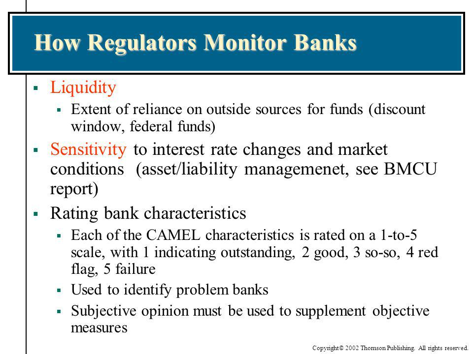 Copyright© 2002 Thomson Publishing. All rights reserved. How Regulators Monitor Banks Liquidity Extent of reliance on outside sources for funds (disco