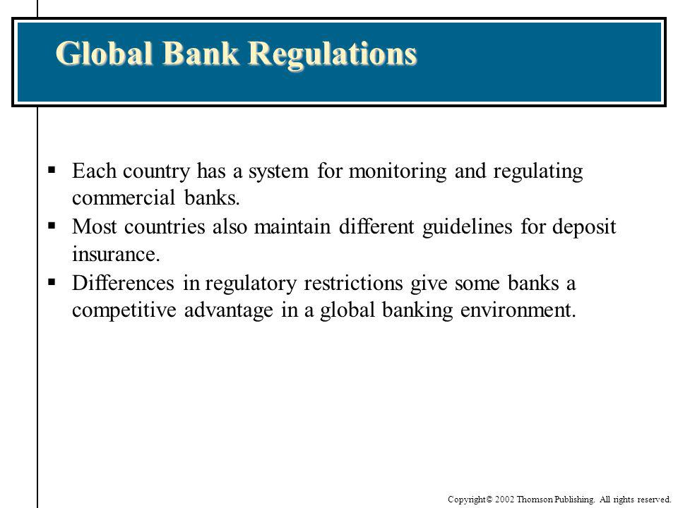 Copyright© 2002 Thomson Publishing. All rights reserved. Each country has a system for monitoring and regulating commercial banks. Most countries also