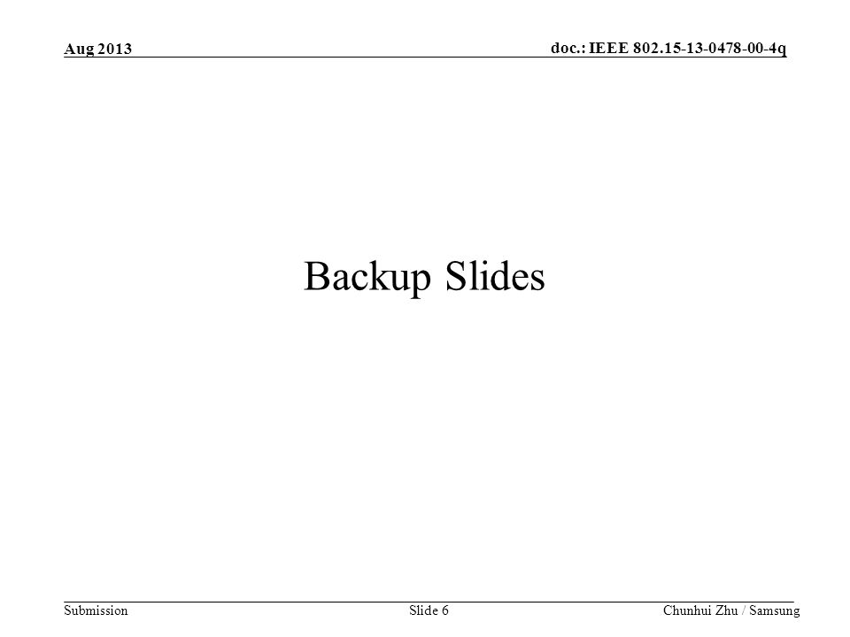 doc.: IEEE q Submission Backup Slides Chunhui Zhu / SamsungSlide 6 Aug 2013
