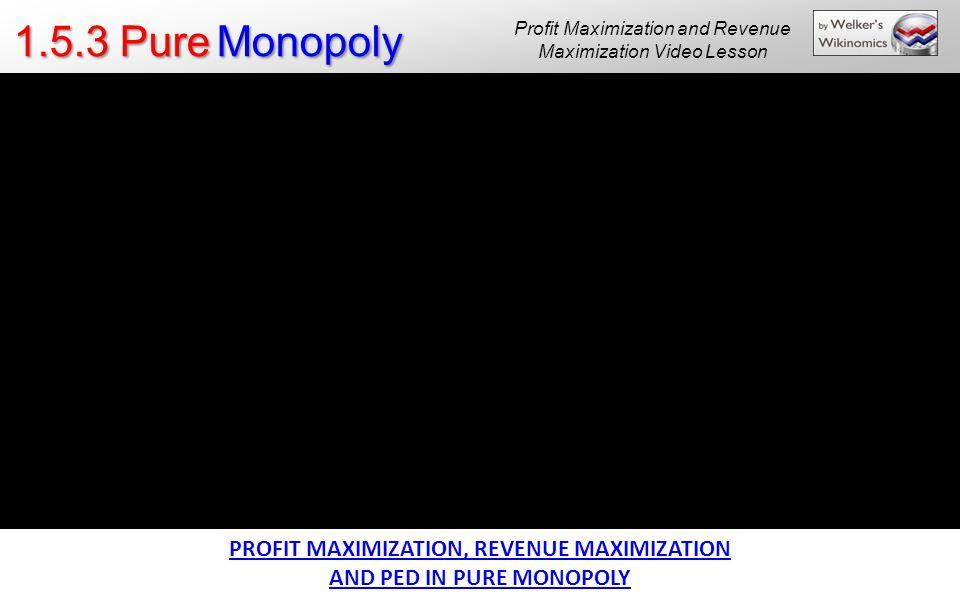 1.5.3 Pure Monopoly PROFIT MAXIMIZATION, REVENUE MAXIMIZATION AND PED IN PURE MONOPOLY Profit Maximization and Revenue Maximization Video Lesson