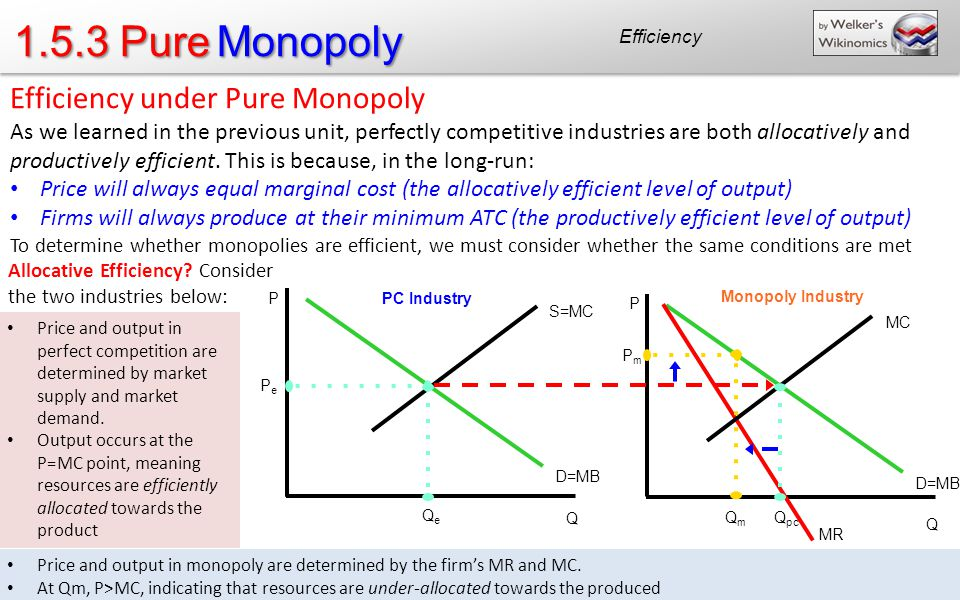 1.5.3 Pure Monopoly Efficiency Efficiency under Pure Monopoly As we learned in the previous unit, perfectly competitive industries are both allocatively and productively efficient.