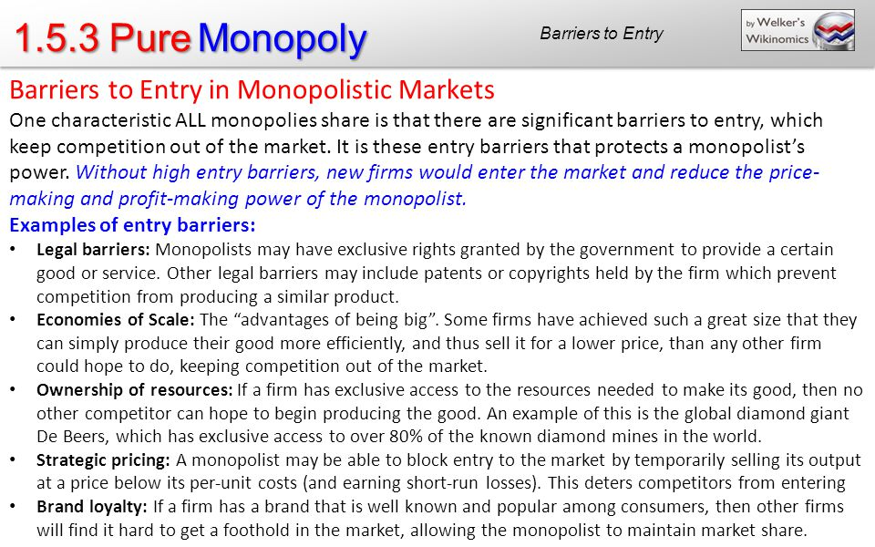 1.5.3 Pure Monopoly Barriers to Entry Barriers to Entry in Monopolistic Markets One characteristic ALL monopolies share is that there are significant barriers to entry, which keep competition out of the market.