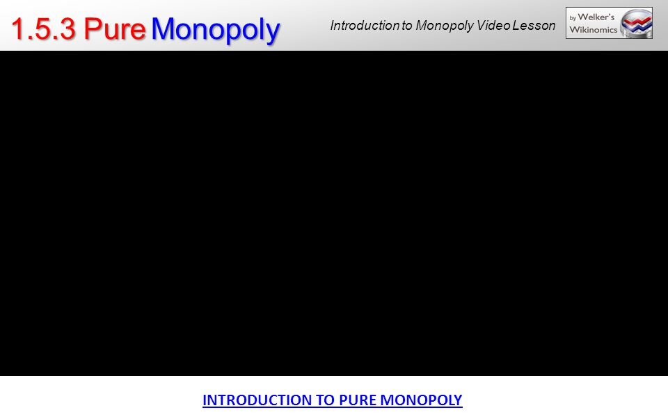 1.5.3 Pure Monopoly Introduction to Monopoly Video Lesson INTRODUCTION TO PURE MONOPOLY