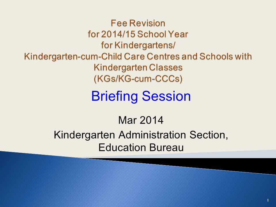 Briefing Session Mar 2014 Kindergarten Administration Section, Education Bureau 1